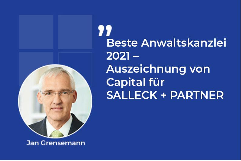 Beste Anwaltskanzlei 2021 – Auszeichnung von Capital für SALLECK + PARTNER